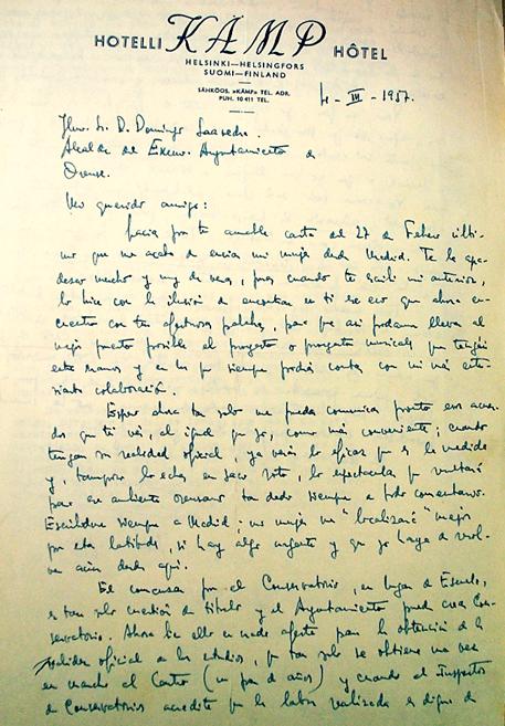 imaxe 3: Carta de Antonio Iglesias ao alcalde de Ourense con motivo da creación do conservatorio na cidade. (Fonte: Arquivo Municipal de Ourense)
